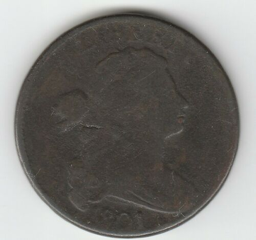 1801 Very Good VG Draped Bust US Large Cent 1C