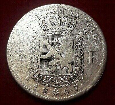 2 Francs, 2 Frank, 1867, B+, Argent, KM#30.1 Belgique, Leopold II, Belgïe
