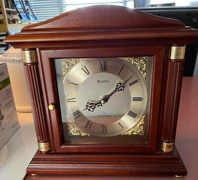 Vintage Bulova Quartz Mantel Clock B1843 Westminster Chime Brass Details Columns