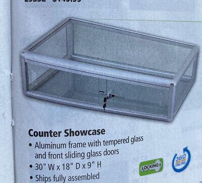 Counter Display Case Aluminum Frame 30wx18dx9h Wlock Sliding Doors