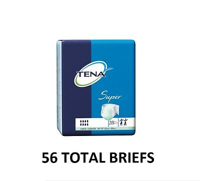 TENA Super Adult Briefs Large Heavy Absorbency 56 count **FREE SHIPPING**