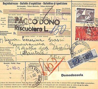 AZ267 1960 Switzerland HIGH VALUES Neuchtael *Insured Mail* Card Italy PTS