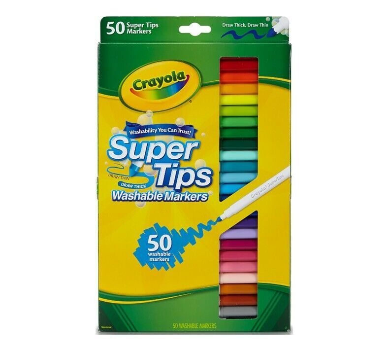 Crayola Washable Super Tips Markers Assorted 50 Colors Set Brand New Free Ship