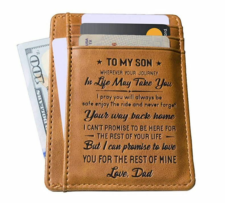 To My Son-Love Dad Slim Card Holder Leather Wallet RFID Bloc