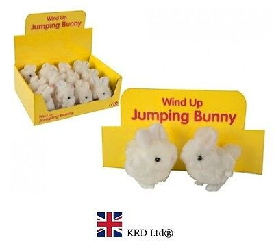 Kids Wind Up Clockwork JUMPING BUNNY Toy Birthday Gift Easter Bag Filler Toys UK