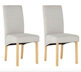 New Heart of House Pair of Pale Grey Skirted Dining Chairs