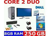 """DELL CHEAP COMPUTER PC DESKTOP WORKSTATION CORE 2 DUO 8GB RAM 250GB 19"""" WIDESCREEN MONITOR WINDOWS 7"""