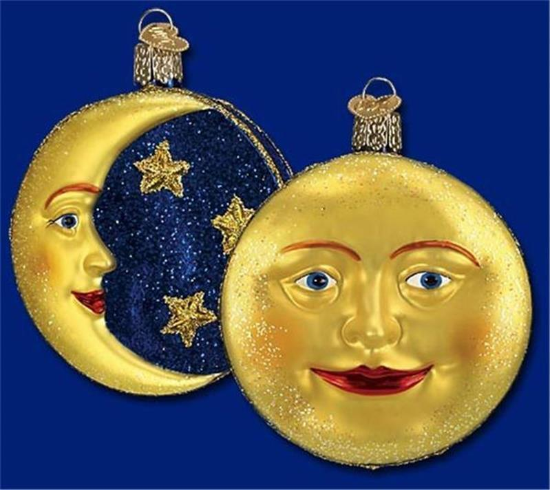 MAN IN THE MOON OLD WORLD CHRISTMAS GLASS MOON & STARS CELESTIAL ORNAMENT 22018