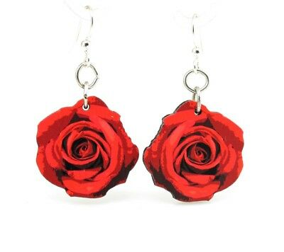 Green Tree Jewelry Deep Red Roses Blossom Earrings Wood Wooden Laser Cut # 162 (Red Wooden Roses)