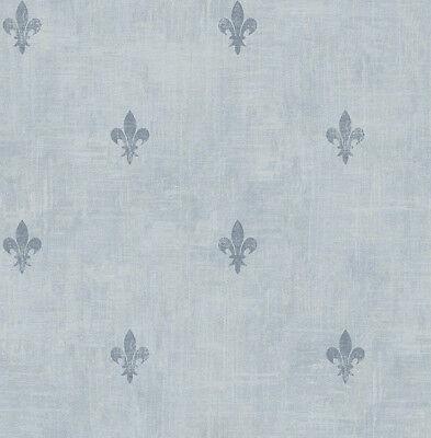 Kleine Sackleinen Säcke (Tapete, Designtapete, Sackleinen, kleine, florale Motive, Schimmer, Jeansblau)