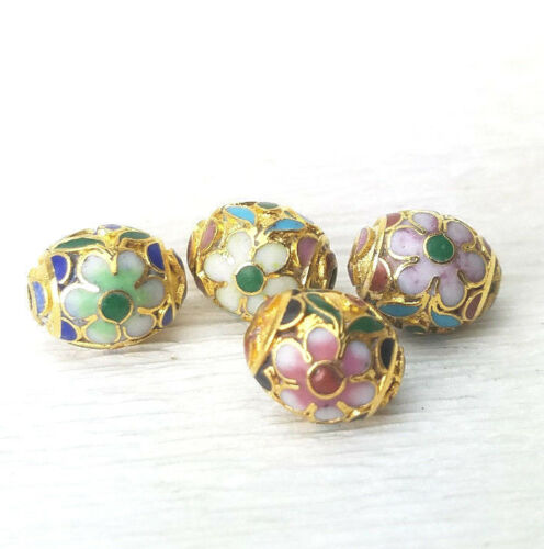 VTG Champleve Gold Mixed Color Flower Oval Cloisonne Chinese Enamel 11x9mm 4PCs