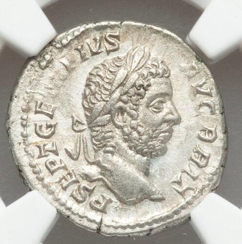 209-11 AD Roman Empire Geta, as Augustus AR denarius NGC AU Morris Collection