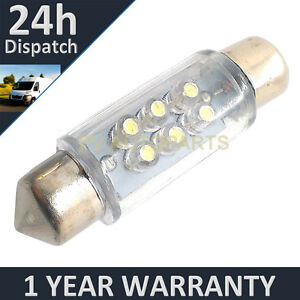 1x-Blanco-Matricula-Luz-Interior-Cupula-Bombilla-LED-30-36-39-42-44mm-FESTOON