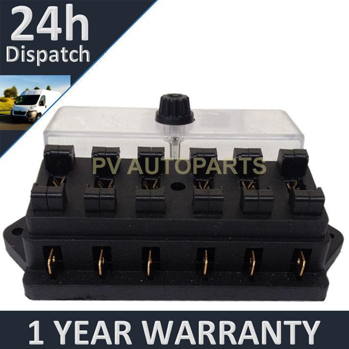 NEW 6 WAY UNIVERSAL STANDARD 12V 12 VOLT ATC BLADE FUSE BOX CLEAR CARAVAN