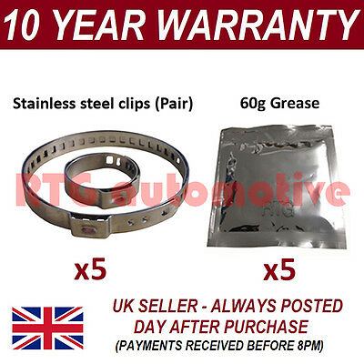 CV BOOT CLAMPS PAIR INNER OUTER x5 CV GREASE x5 UNIVERSAL FITS ALL CARS KIT 25