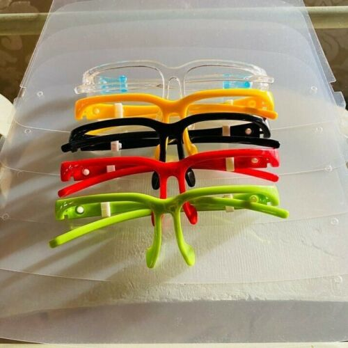 [5 Pack] 5 Color available Glasses Frame with Reusable Face Shield Guard Protect