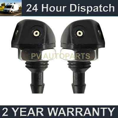 PAIR UNIVERSAL WINDSCREEN WASHER TWIN JET STRAIGHT INLET SCREW NUT FITTING WWY7