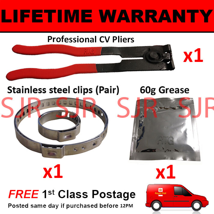 CV BOOT CLAMPS PAIR INNER & OUTER x1 CV GREASE x1 EAR PLIERS x1 KIT 4.1