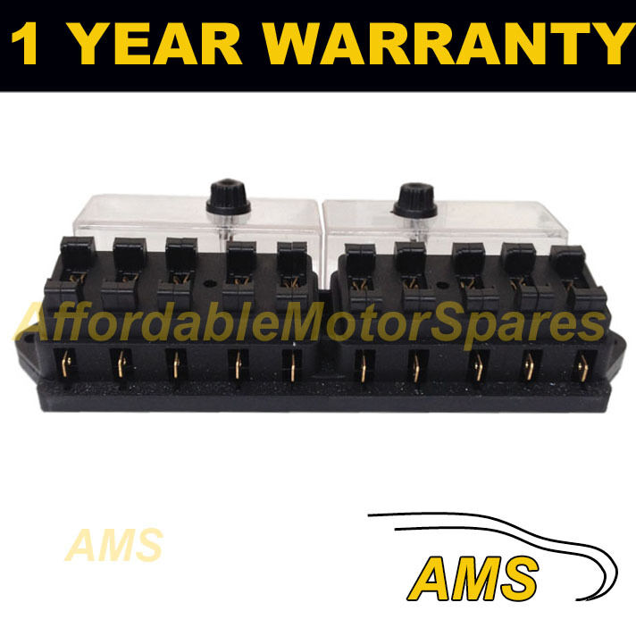 NEW 10 WAY UNIVERSAL STANDARD 12V 12 VOLT ATC BLADE FUSE BOX / COVER NARROW BOAT