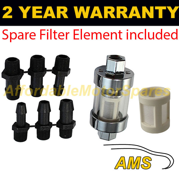 6mm 8mm 10mm SMALL & SPARE ELEMENT IN LINE FUEL FILTER CHROME METAL & GLASS x1