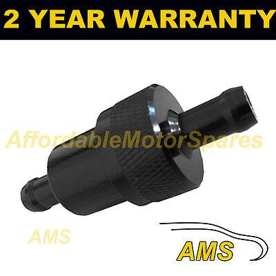 Negro 6mm Metal Filtro de Combustible en Línea Universal Aluminio Anodizado