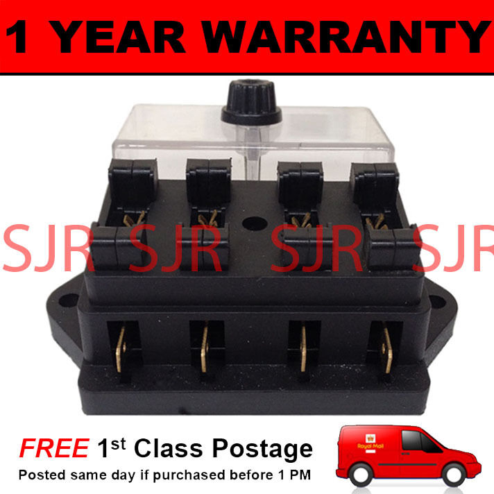 NEW 4 WAY UNIVERSAL STANDARD 12V 12 VOLT ATC BLADE FUSE BOX CLEAR KIT CAR