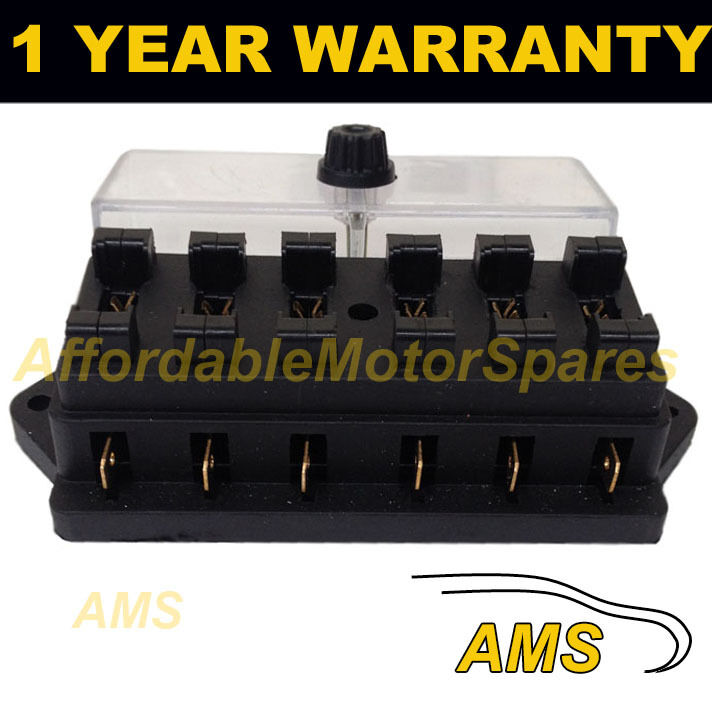 NEW 6 WAY UNIVERSAL STANDARD 12V 12 VOLT ATC BLADE FUSE BOX / COVER CLASSIC CAR
