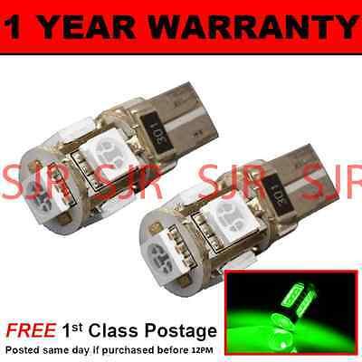 W5W T10 501 CANBUS ERROR FREE GREEN 5 LED SIDELIGHT SIDE LIGHT BULBS X2 SL101304