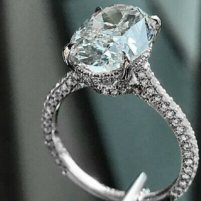 Natural Oval Cut 3.10 Ct Micro Pave Diamond Engagement Ring with Pave H SI1 14k 1