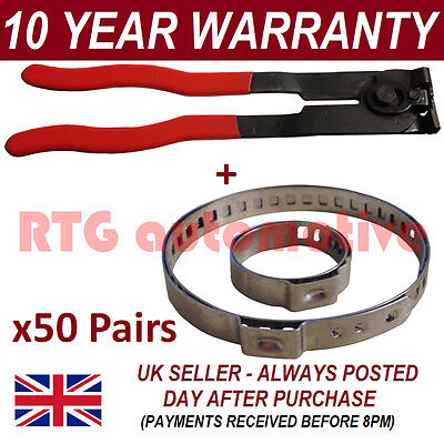 CV BOOT CLAMPS PAIR x50 EAR PLIERS x1 GARAGE TRADE PACK FITS ALL CARS KIT 350