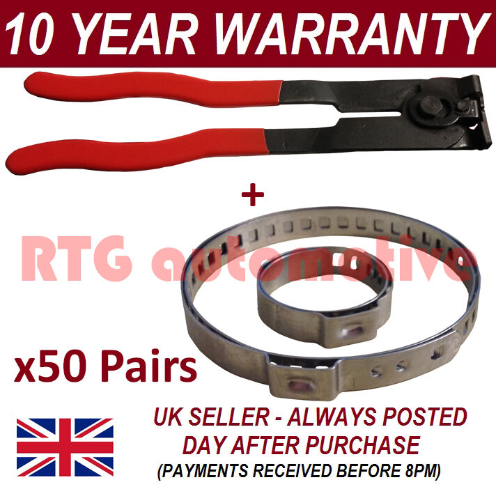 CV BOOT CLAMPS PAIR x50 EAR PLIERS x1 GARAGE TRADE PACK FITS ALL CARS KIT 3.50