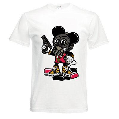 T- Shirt MICKEY MOUSE GANGSTER SUPERHERO MOB Vinylprint MINT Adults S - - Gangster Superheroes