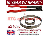 CV BOOT CLAMPS PAIR x2 EAR PLIERS x1 UNIVERSAL STAINLESS FITS ALL CARS KIT 3.2