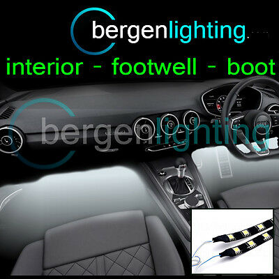 2X 375MM WHITE INTERIOR UNDER DASH/SEAT 12V SMD5050 DRL MOOD LIGHTING STRIPS