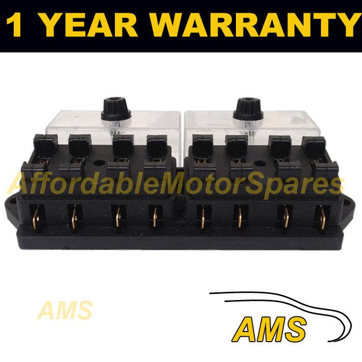 NEW 8 WAY UNIVERSAL STANDARD 12V 12 VOLT ATC BLADE FUSE BOX / COVER MOTORBIKE