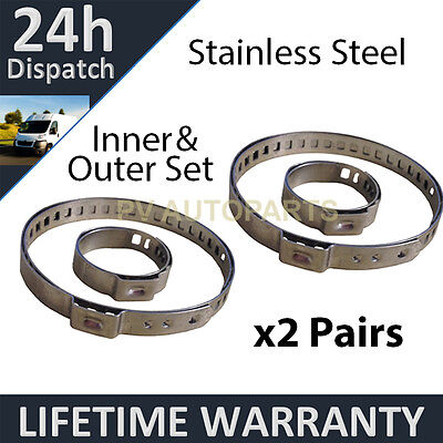 2X CV BOOT STAINLESS STEEL CLAMPS PAIR INNER  OUTER FITS ALL VEHICLES UNIVERSAL
