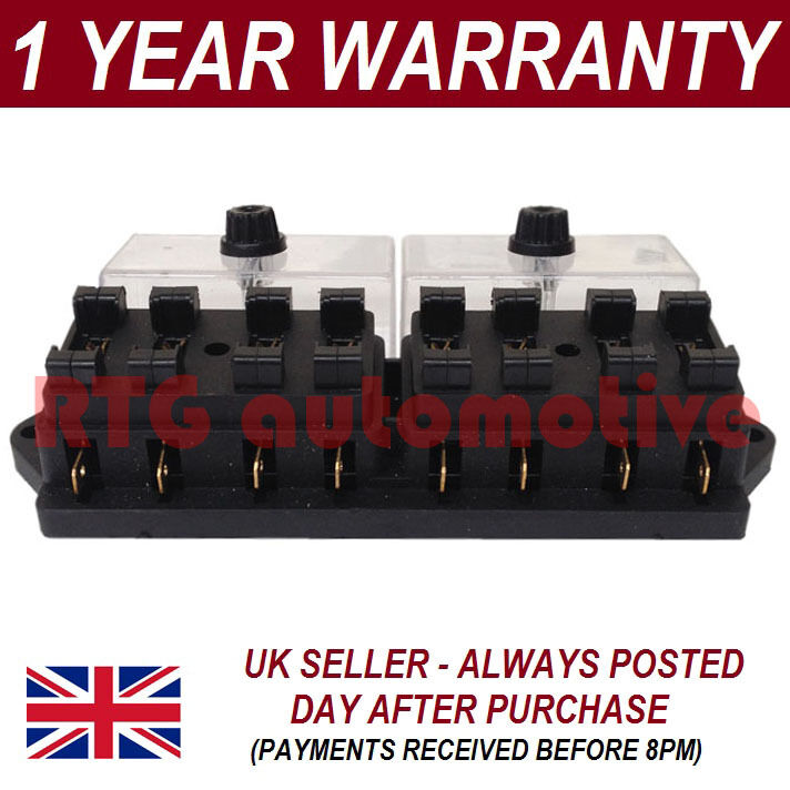 NEW 8 WAY UNIVERSAL STANDARD 12V 12 VOLT ATC BLADE FUSE BOX / COVER MOTORCYCLE