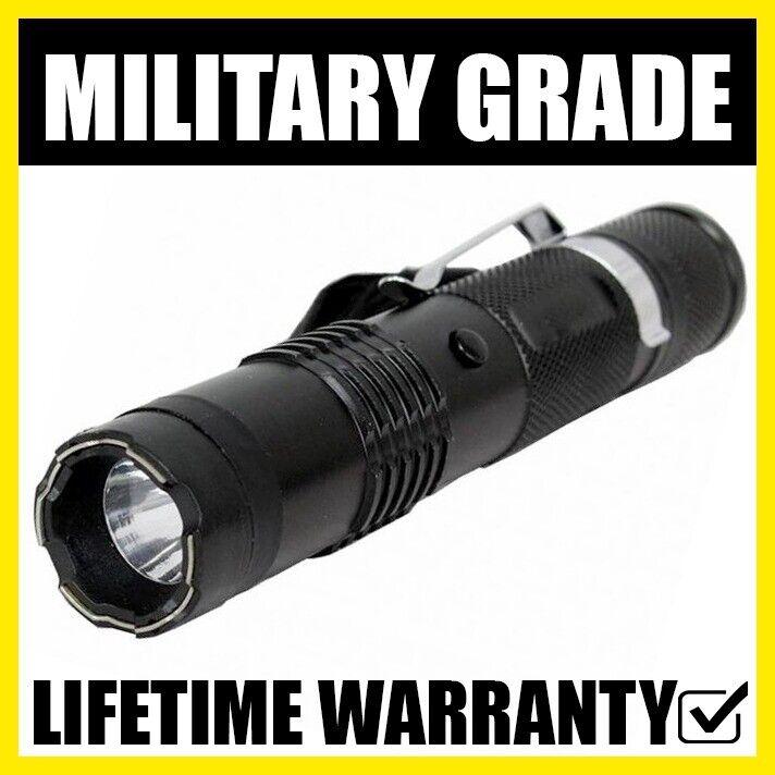 TACTICAL M12 Metal Stun Gun Flashlight Rechargeable + Pocket Belt Clip