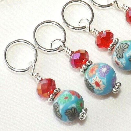 KNITTING ACCESSORIES STITCH MARKERS. POLYMER CLAY BEADS.  HANDMADE # 161