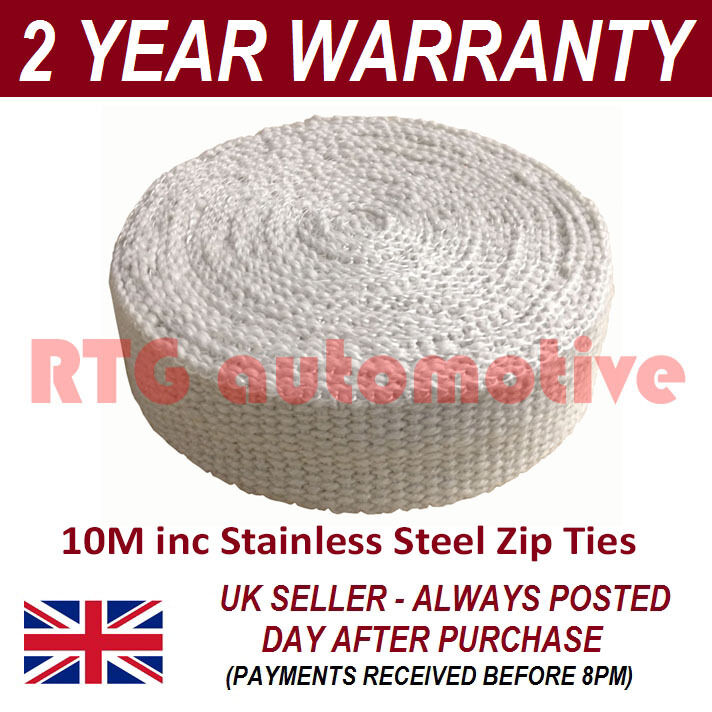 RTG HEAVY DUTY CAR & MOTORCYCLE EXHAUST HEAT WRAP 10M INCLUDING S/STEEL CLIPS