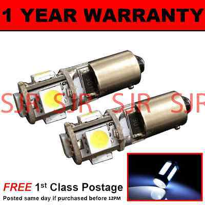 BA9s T4W 233 CANBUS ERROR FREE WHITE 5 LED SIDELIGHT BULBS X2 HID SL101402