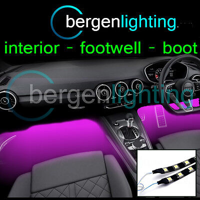 2X 300MM PINK INTERIOR UNDER DASH/SEAT 12V SMD5050 DRL MOOD LIGHTING STRIPS