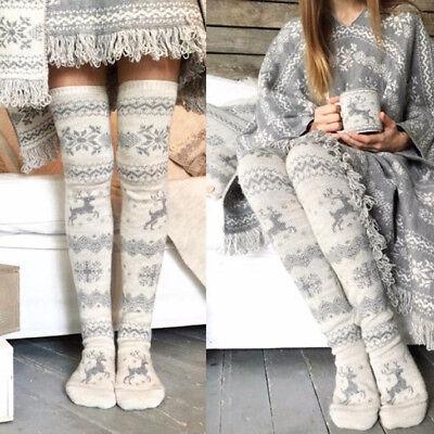 Women Girls Christmas Thigh High OVER the KNEE Socks Soft Warm Long Stockings (Christmas Thigh High Stockings)