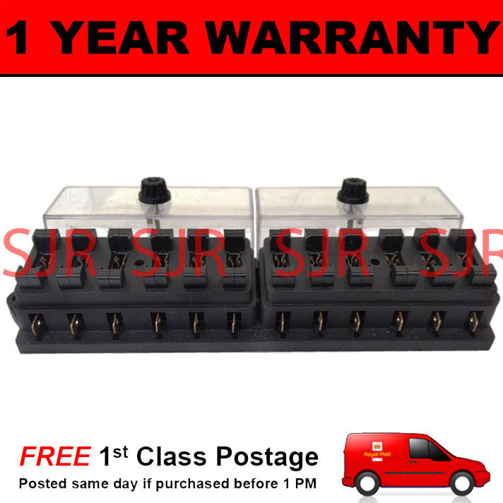 NEW 12 WAY UNIVERSAL STANDARD 12V 12 VOLT ATC BLADE FUSE BOX CLEAR MOTORCYCLE
