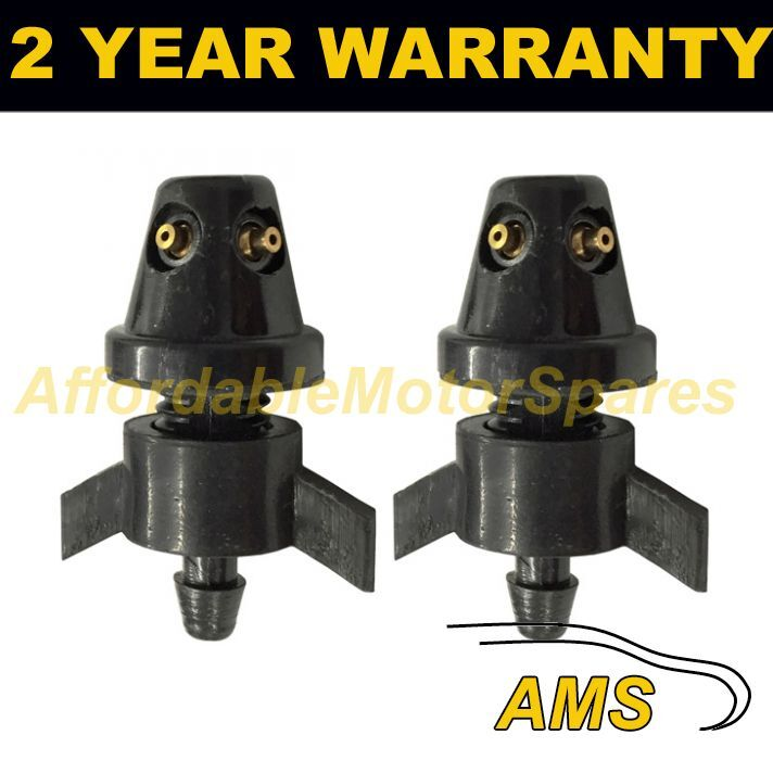 PAIR UNIVERSAL WINDSCREEN WASHER SINGLE JET STRAIGHT INLET WINGNUT FITTING WWY6