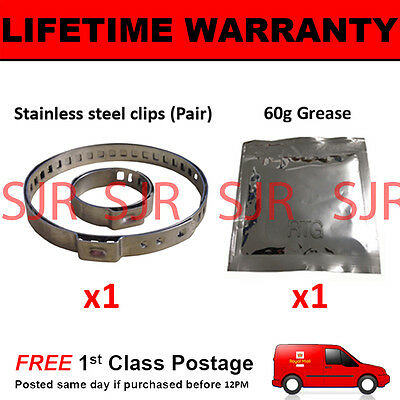 CV BOOT CLAMPS PAIR INNER OUTER x1 CV GREASE x1 UNIVERSAL FITS ALL CARS KIT 21