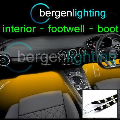 2X 375MM AMBER INTERIOR UNDER DASH/SEAT 12V SMD5050 DRL MOOD LIGHTING STRIPS
