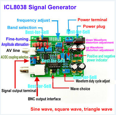 Dc 12-24v Icl8038 Dds Function Signal Generator Sine Wave Triangle Square Wave