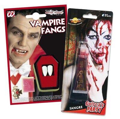 SANGUE FINTO DENTI da Vampiro ZANNE Dracula Halloween finta Vestito da festa (Kostüm Da Vampiro)