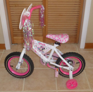 "Huffy Minnie Busy Little Helper 12.5"" With Training Wheels"